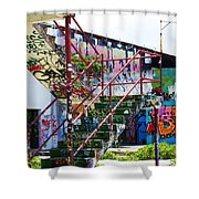 Red Stair Rails Shower Curtain