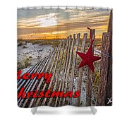 Red Star On Fence Shower Curtain
