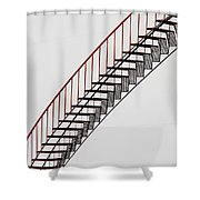 Red Steps On Tank 2 Shower Curtain