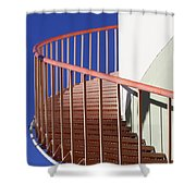 Red Steps On Tank 3 Shower Curtain