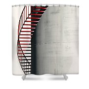 Red Steps On Tank Shower Curtain