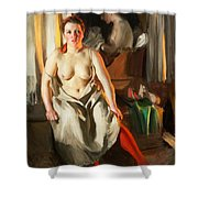 Red Stockings Shower Curtain