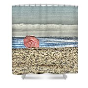 Red Striped Umbrella At The Beach Shower Curtain