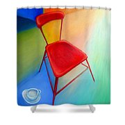 Red Studio Chair Shower Curtain