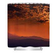 Red Sumer Sunset Shower Curtain