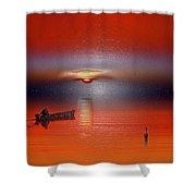 Red Sun Shower Curtain