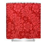 Red Sunflower Wallpaper Design, 1879 Shower Curtain