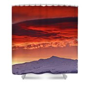 Red Sunrise Over National Park Sierra Nevada Shower Curtain