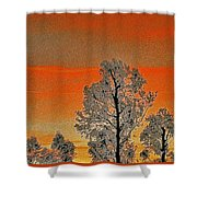 Red Sunset With Trees Shower Curtain