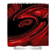 Red Swirl  Shower Curtain