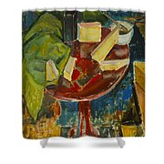 Red Table Top Still Life Shower Curtain