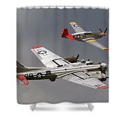 Red Tail Escort Shower Curtain