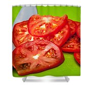 Red Tomato Slices And Knife On Green Chopping Board Shower Curtain
