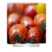 Red Tomatoes At The Market Shower Curtain by Heather Applegate