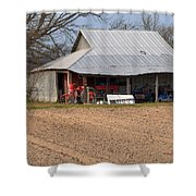 Red Tractor In A Tin Roofed Shed Shower Curtain