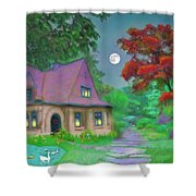 Red Tree Cottage At Dusk Shower Curtain