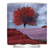 Red Tree In A Field Shower Curtain