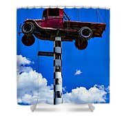 Red Truck With Cross Shower Curtain