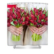 Red Tulip Weddding Bouquets Shower Curtain