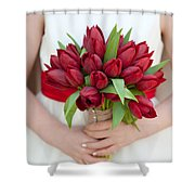 Red Tulip Wedding Bouquet Shower Curtain