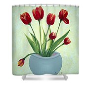 Red Tulips In A Pot Shower Curtain