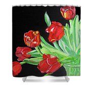 Red Tulips In Vase Shower Curtain