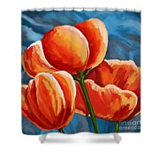 Red Tulips On Blue Shower Curtain