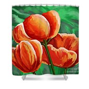 Red Tulips On Green Shower Curtain