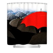 Red Umbrella In The City Shower Curtain by Bob Orsillo