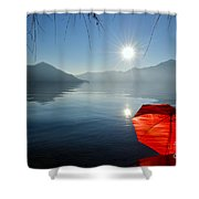 Red Umbrella On The Beach Shower Curtain
