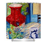 Red Vase And Cup Shower Curtain