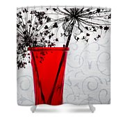 Red Vase With Dried Flowers Shower Curtain
