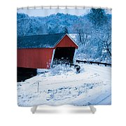 Red Vermont Covered Bridge Shower Curtain