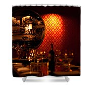Red Wall And Dinner Table Shower Curtain