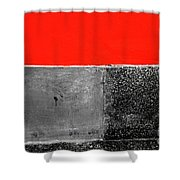 Red Wall In Black And White Shower Curtain