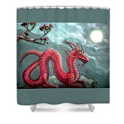 Red Water Dragon And Tree Shower Curtain