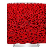 Red Water Drops On Water-repellent Surface Shower Curtain