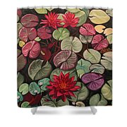 Red Water Lilies Shower Curtain