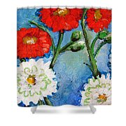 Red White And Blue Flowers Shower Curtain