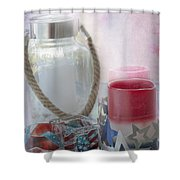 Red White And Blue Shower Curtain by Judy Hall-Folde