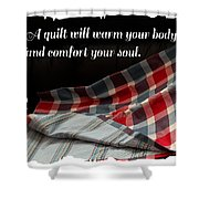 Red White And Blue Quilt With Quote Shower Curtain