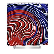 Red White And Blue Shower Curtain by Sarah Loft