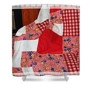 Red White And Gingham With Flowery Blocks Patchwork Quilt Shower Curtain