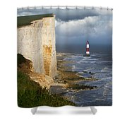 White Cliffs And Red-white Striped Lightouse In The Sea Shower Curtain