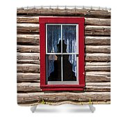 Red Window Log Cabin - Idaho Shower Curtain