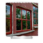 Red Windows Paned Shower Curtain