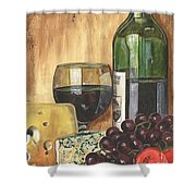 Red Wine And Cheese Shower Curtain