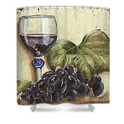 Red Wine And Grape Leaf Shower Curtain by Debbie DeWitt