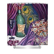 Red Wine And Peacock Feathers Shower Curtain
