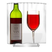 Red Wine Bottle And Glass Shower Curtain